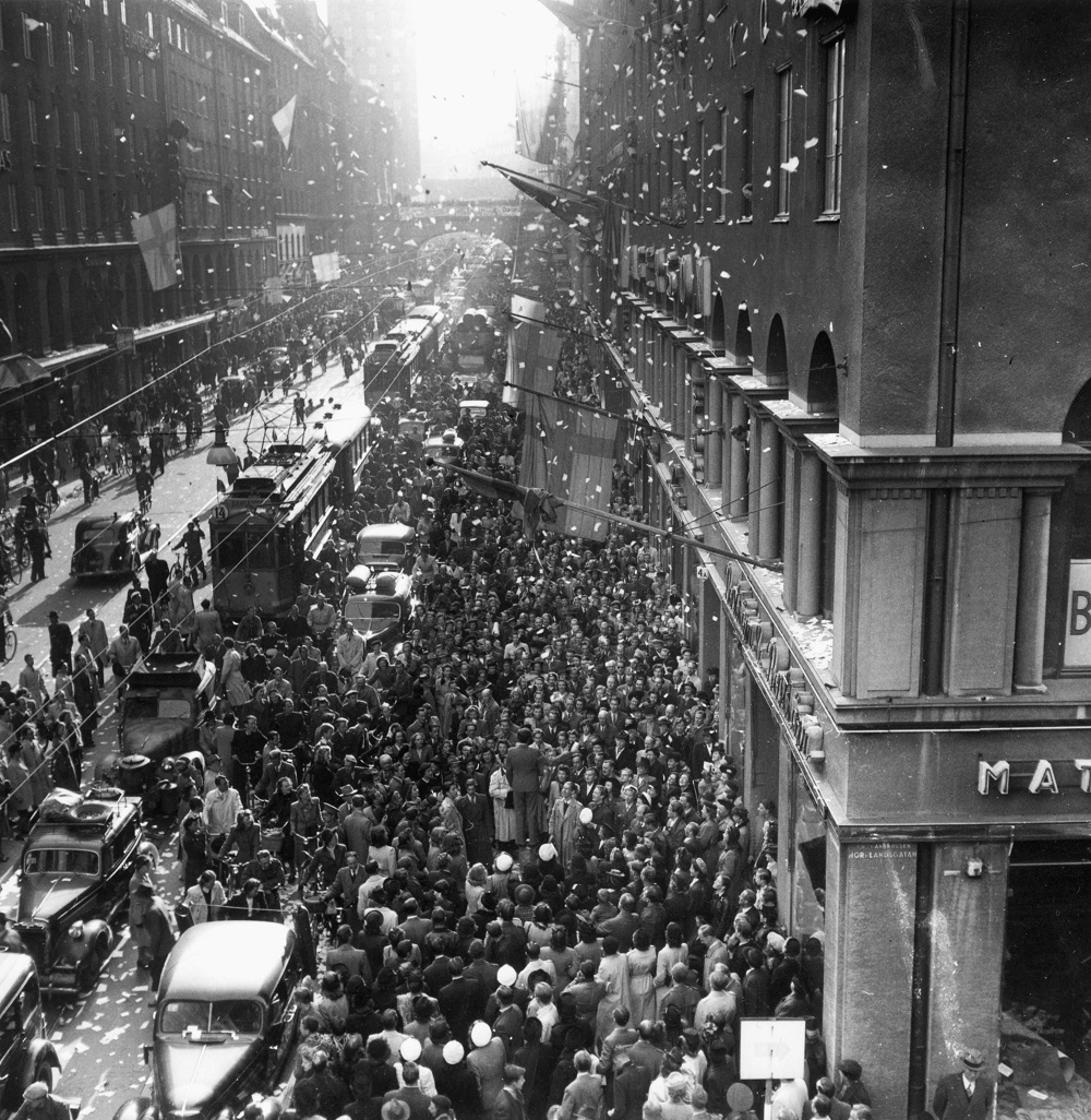 The end of the Second World War was marked by showers of tickertape on Kungsgatan.